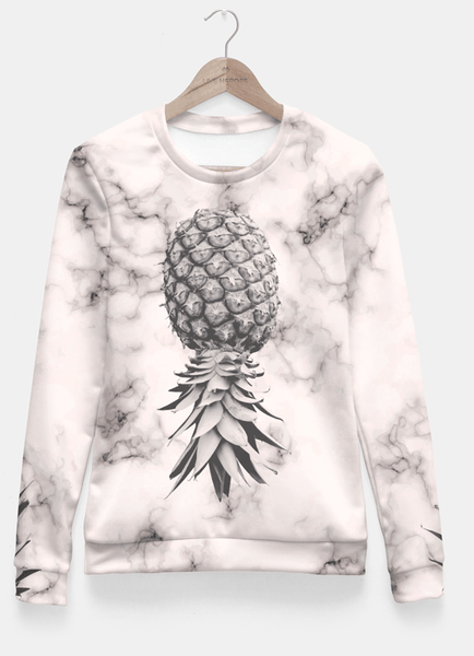 Sadaf Hamid Sweat Shirt Marble Texture Seamless Pattern Pineapple 052 Fitted Waist Sweater