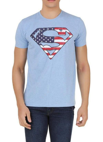 Sam T-SHIRT Superman From Krypton To America Blue Half Sleeve Men T-Shirt