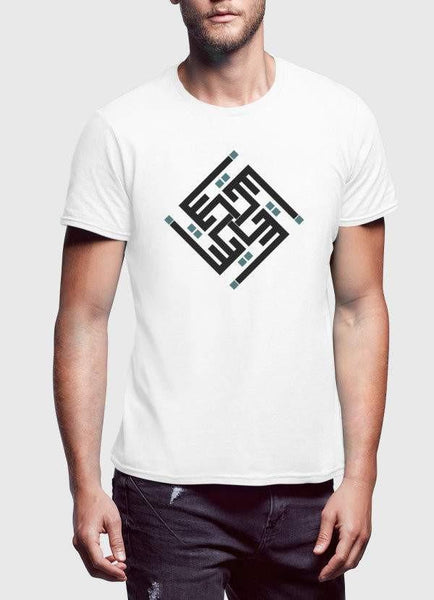 Syed Faraz Ali T-SHIRT يكن Printed White Tshirt Half Sleeves
