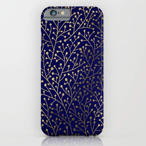Threadless Mobile Cover Gold Berry Branches on Navy Mobile Cover