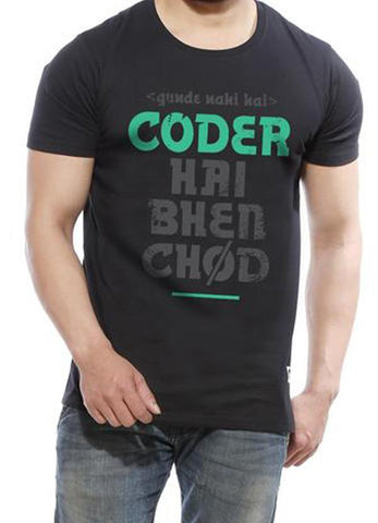Tipu Sultan T-shirt Coder - Black Men's Developer Half Sleeve Designer T Shirt