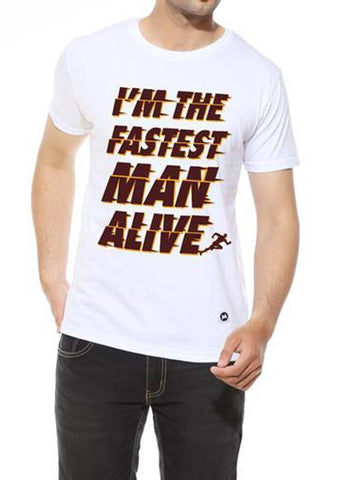 Tipu Sultan T-shirt Fastest Man - White Men's Superhero Half Sleeve Graphic T Shirt