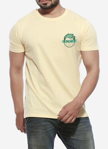 Tipu Sultan T-shirt Hulkster - Lemon Yellow Men's Superhero Half Sleeve Pocket Print T Shirt