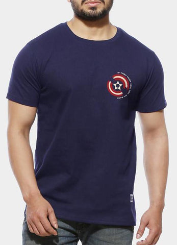 Tipu Sultan T-shirt Hurt 'Em Back - Navy Blue Men's Half Sleeve Pocket Print T Shirt
