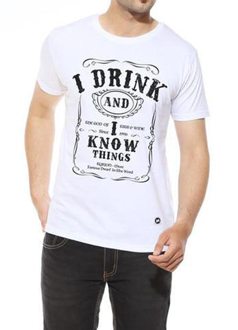 Tipu Sultan T-shirt I Drink and I know Things - White Men's Trendy Half Sleeves T Shirt