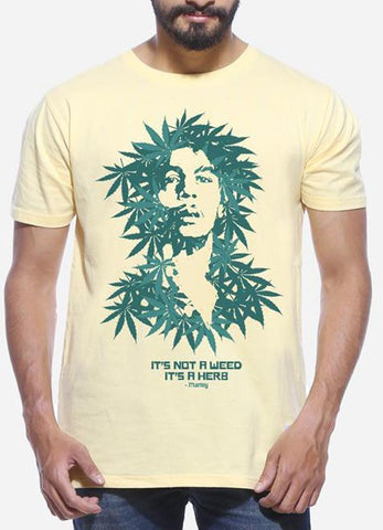 Tipu Sultan T-shirt It's A Herb - Lemon Yellow Men's Stoner Half Sleeve Designer T Shirt