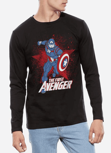 Tipu Sultan T-shirt SMALL / Black Captain America Classic Avenger Full Sleeves T-shirt