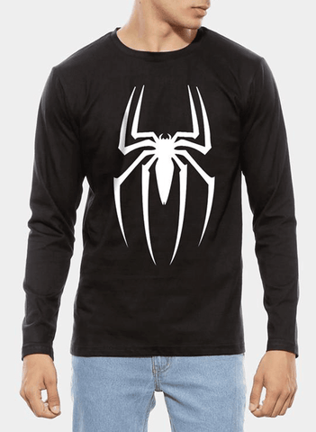 Tipu Sultan T-shirt SMALL / Black Spiderman Homecoming Logo Full Sleeves T-shirt