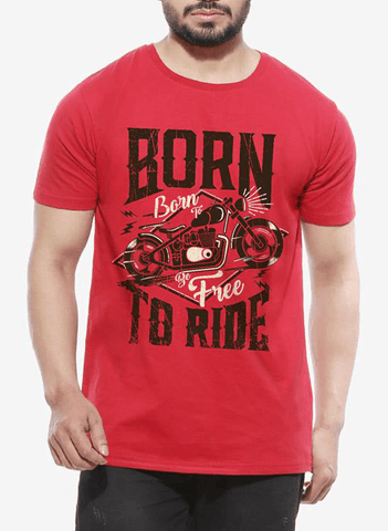 Tipu Sultan T-shirt SMALL / Red Born To Ride Half Sleeves T-shirt