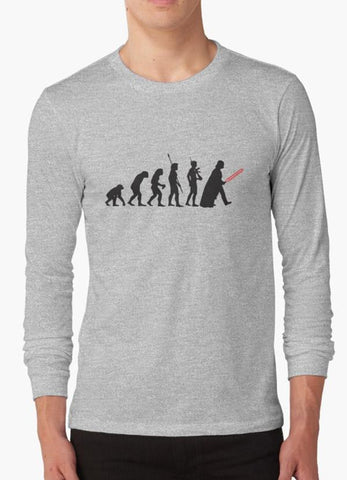 Tommy Nease Full Sleeves T-Shirts Human evolution Star wars GREY FULL SLEEVES T-SHIRT