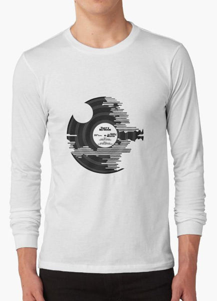 Tommy Nease Full Sleeves T-Shirts Star Wars - Death Star Vinyl WHITE FULL SLEEVES T-SHIRT