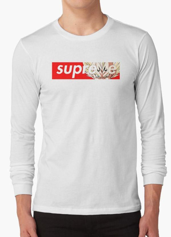 102be2b2f609 Tommy Nease Full Sleeves T-Shirts Supreme Majin Vegeta WHITE FULL SLEEVES T- SHIRT