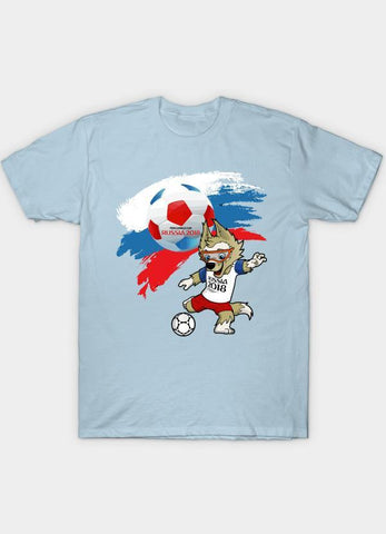 Usman Ali T-SHIRT Mascot FIFA World Cup 2018 Skyblue T-Shirt