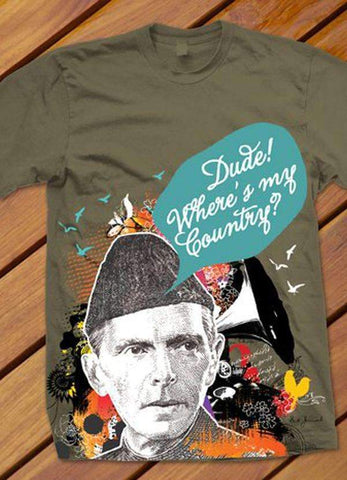 Uth-Oye T-SHIRT Dude! Where's My Country? Printed Tshirt