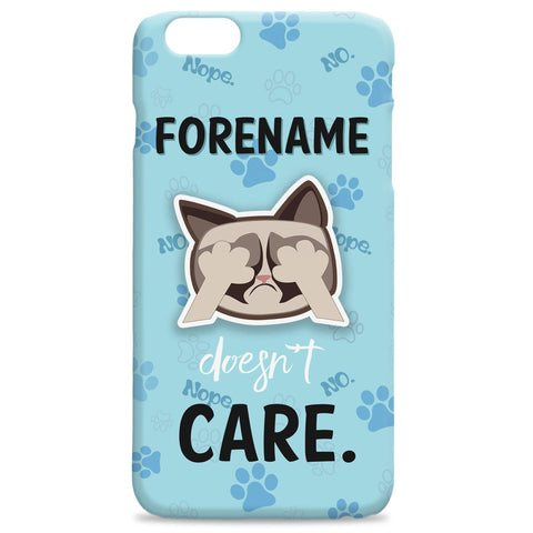 Virgin Teez Mobile Cover Grumpy Cat Emoji - Doesn't Care iPhone Case Blue