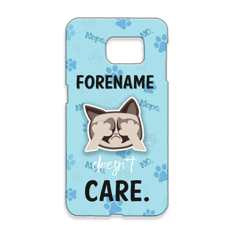 Virgin Teez Mobile Cover Grumpy Cat Emoji - Doesn't Care Samsung Phone Case Blue