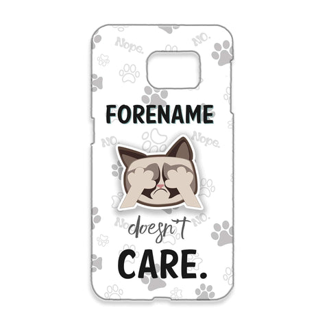 Virgin Teez Mobile Cover Grumpy Cat Emoji - Doesn't Care Samsung Phone Case Grey