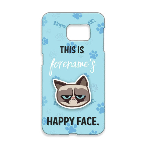 Virgin Teez Mobile Cover Grumpy Cat Emoji - Happy Face Samsung Phone Case Blue
