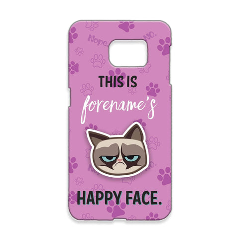Virgin Teez Mobile Cover Grumpy Cat Emoji - Happy Face Samsung Phone Case Pink