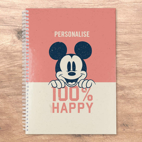 Virgin Teez Notebook Mickey Mouse 100% Happy Personalised A5 Notebook