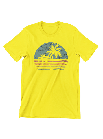 VIRGIN TEEZ T-SHIRT Beach Life Palm Tree Sunset T-Shirt
