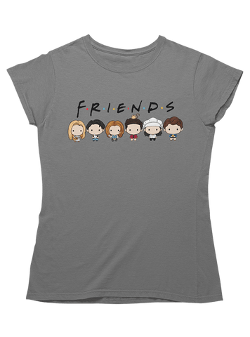 Virgin Teez T-SHIRT Chibi Friends Line Up Women T-Shirt