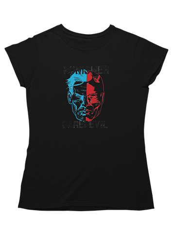 Virgin Teez T-SHIRT Daredevil and Punisher Face-Off Women T-Shirt