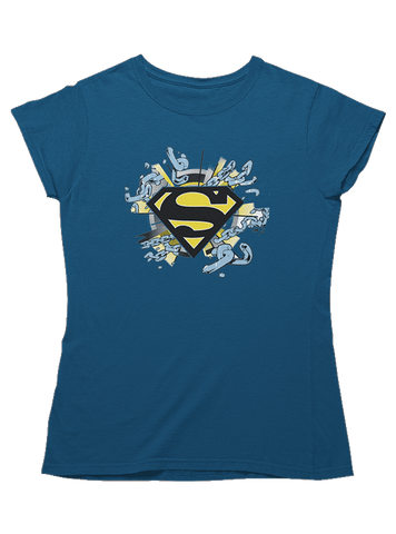 Virgin Teez T-SHIRT DC Comics Superman Chain Breaker Logo Women T-Shirt