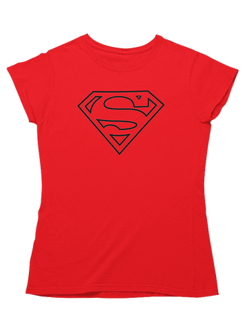 Virgin Teez T-SHIRT DC Comics Superman Line Art Logo Women T-Shirt