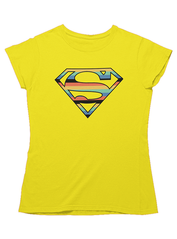 Virgin Teez T-SHIRT DC Comics Superman Retro Line Logo Women T-Shirt
