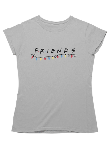 Virgin Teez T-SHIRT Friends Christmas Lights Women T-Shirt