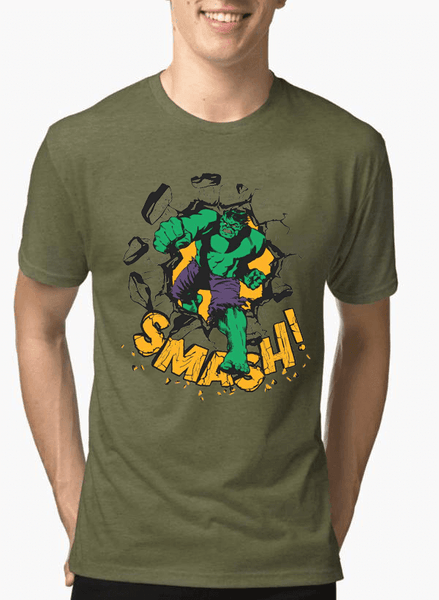 Virgin Teez T-shirt HULK SMASH Half Sleeves Melange T-shirt