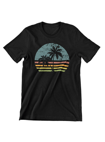 VIRGIN TEEZ T-SHIRT Small / Black Beach Life Palm Tree Sunset T-Shirt