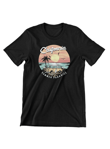 VIRGIN TEEZ T-SHIRT Small / Black California Summer Paradise T-Shirt