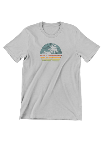 VIRGIN TEEZ T-SHIRT Small / Heather Grey Beach Life Palm Tree Sunset T-Shirt