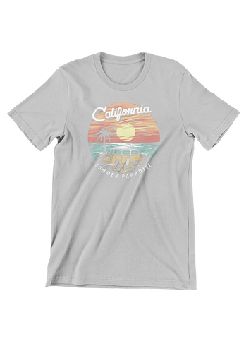 VIRGIN TEEZ T-SHIRT Small / Heather Grey California Summer Paradise T-Shirt