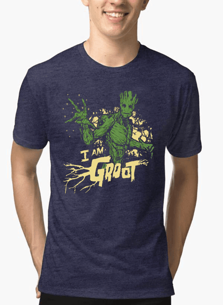 Virgin Teez T-shirt SMALL I AM GROOT Half Sleeves Melange T-shirt