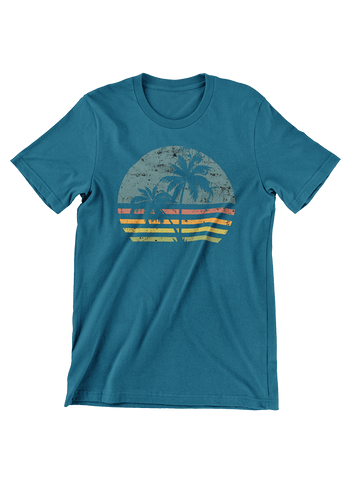 VIRGIN TEEZ T-SHIRT Small / Navy Beach Life Palm Tree Sunset T-Shirt