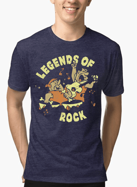 Virgin Teez T-shirt SMALL / Navy LEGENDS OF ROCK Half Sleeves Melange T-shirt