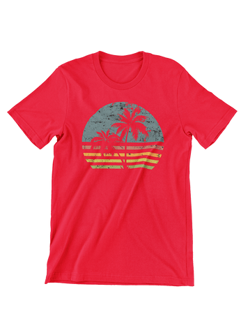 VIRGIN TEEZ T-SHIRT Small / Red Beach Life Palm Tree Sunset T-Shirt