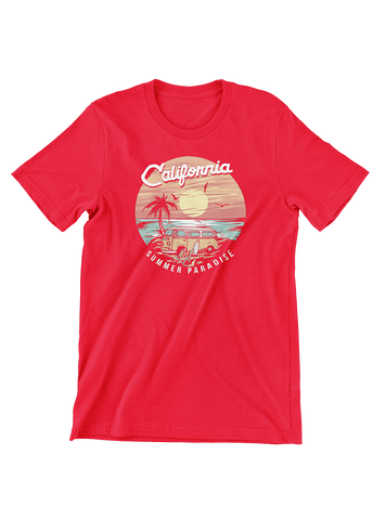 VIRGIN TEEZ T-SHIRT Small / Red California Summer Paradise T-Shirt