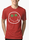Virgin Teez T-shirt SMALL / Red Nirvana Smile Half Sleeves Melange T-shirt