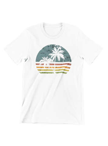 VIRGIN TEEZ T-SHIRT Small / White Beach Life Palm Tree Sunset T-Shirt