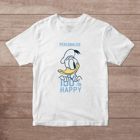 Virgin Teez T-Shirts Donald Duck 100% Happy Personalised Adult T-Shirt