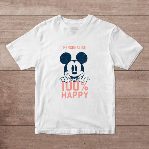 Virgin Teez T-Shirts Mickey Mouse 100% Happy Personalised Adult T-Shirt