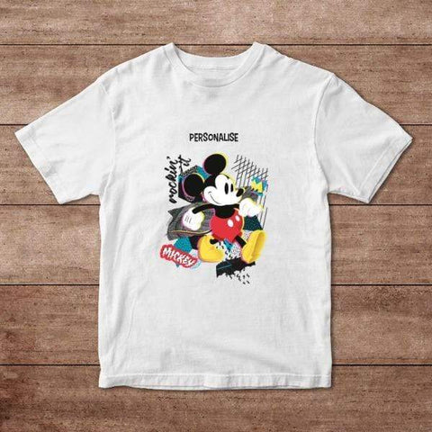 Virgin Teez T-Shirts Mickey Mouse Rockin' It Personalised Adult T-Shirt