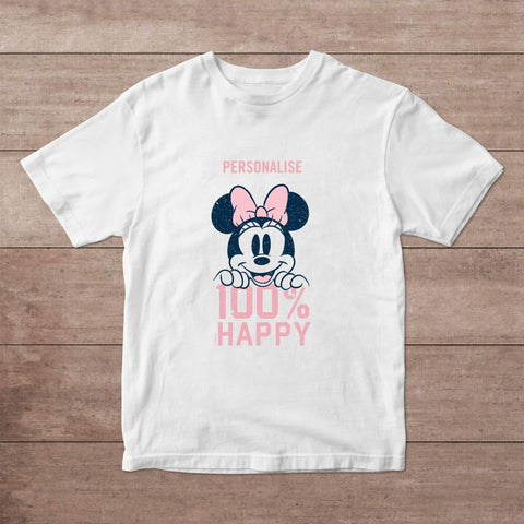 Virgin Teez T-Shirts Minnie Mouse 100% Happy Personalised Adult T-Shirt