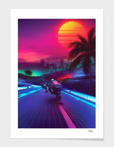 ZAINAB ABBAS T-SHIRT Synthwave Midnight Outrun WHITE T-SHIRT