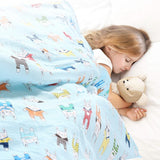 Blue 142cm x 105cm Kids Weighted Printed Blanket