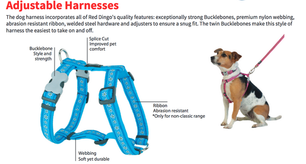 Handmade of Material Purple Black Contrast 94629 Dingo Dog Harness with Plastic Buckle Easy Wearing